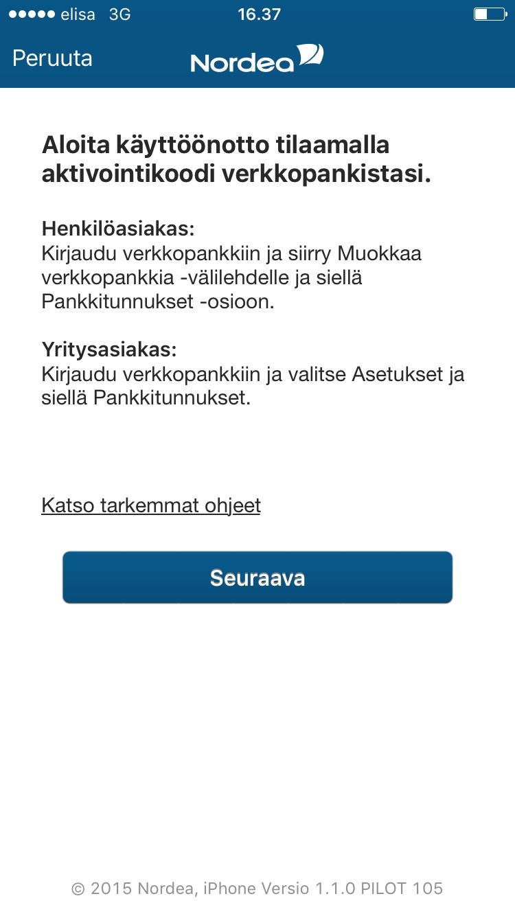 Tunnusluvut-sovelluksen käyttöönotto - Henkilöasiakkaat | Nordea.fi