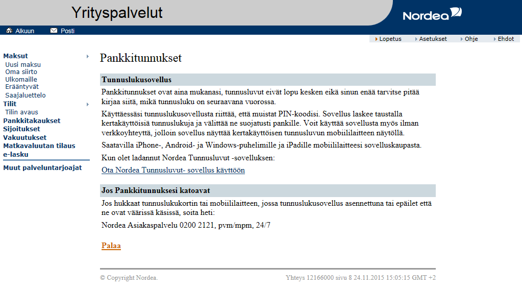 Tunnuslukusovellus - Yritysasiakkaat | Nordea.fi