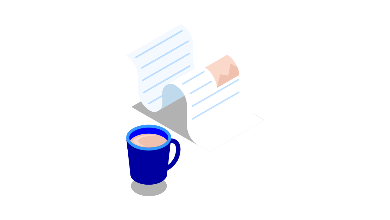 Coffee cup and document - Small