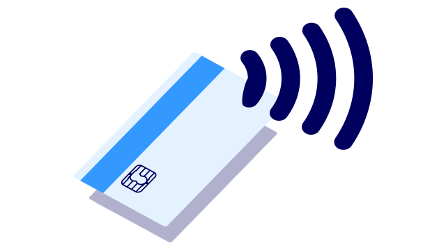 Contactless payment card and the contactless symbol – small