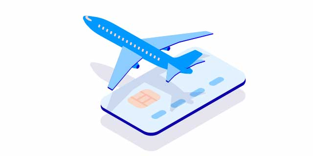 Credit card and aircraft – small