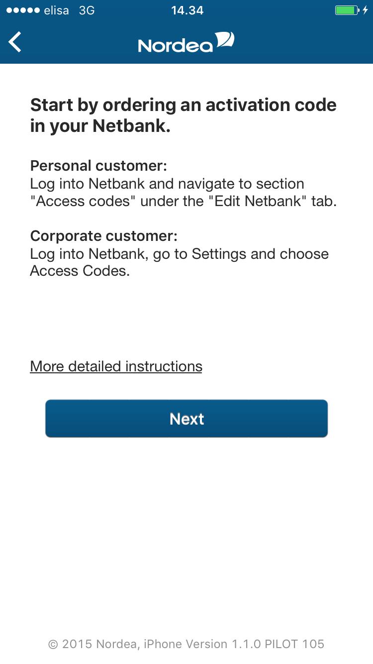 Activating the Codes app online | Nordea fi