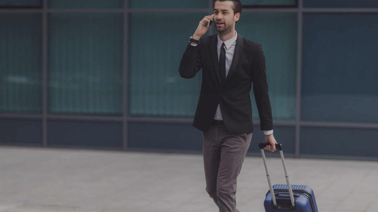 Business man with suitcase large