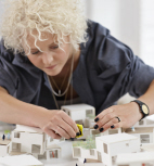 architect works on model
