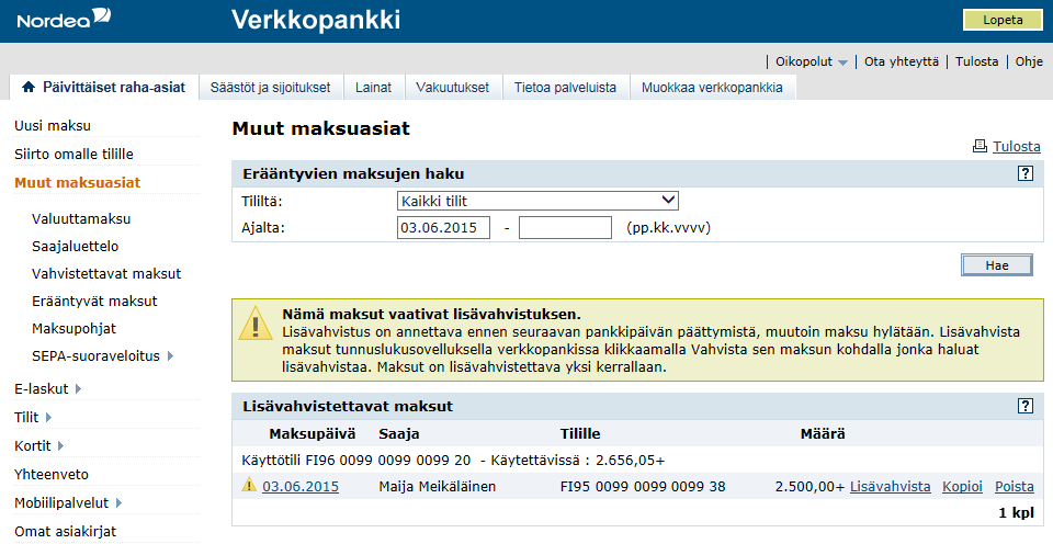 Tunnuslukusovellus | Nordea.fi